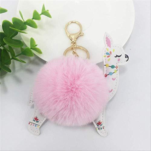 DOUFUZZ SNHPP Alpaka Lama Kawaii Plüsch Spielzeug Schlüsselanhänger Anhänger Puppe gefüllte Tiere Flauschige Pompom weiche Faux Kaninchen Pelz Spielzeug 16 * 12 * 10cm Rosa
