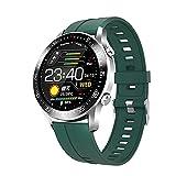 Reloj Inteligente para Hombres y Mujeres, Pulsera de Moda a Prueba de Agua, rastreador de Ejercicios, frecuencia cardíaca, Reloj Inteligente Deportivo Bluetooth para teléfono iOS Android-Verde