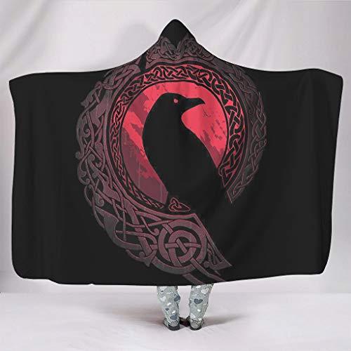 STELULI Hoodies Decken Viking Ravens in Übergröße, Freizeitkleidung, Frisches Thema, Robe – passend für klimatisierte Räume für Damen/Herren, Geschenk, weiß, 152,4 x 203,2 cm