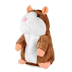 Toyvian El Juguete de Peluche Divertido de Hamster parlante Repite lo Que Dices. Juguete Interactivo de Juguete Relleno de Registro electrónico 1pcs (marrón Claro no Incluido, batería)