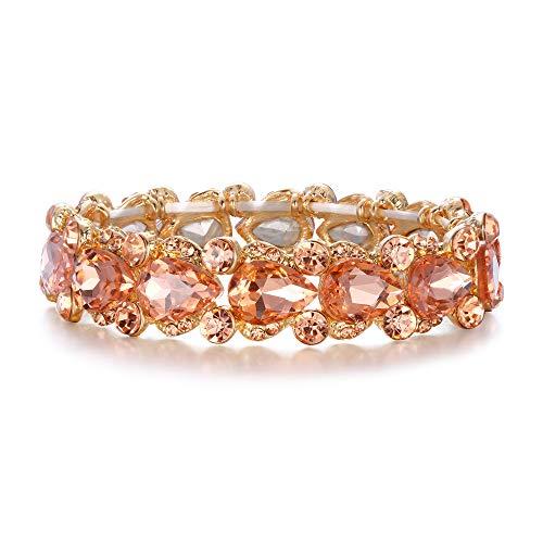 EVER FAITH Damen Armband österreichischen Kristall Hochzeit Braut Floral Tear Drop elastische Stretch-Armband Armreif Champagner Gold-Ton