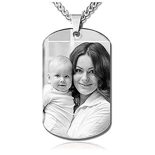 Collar personalizado con foto grabada en forma de rectángulo colgante de foto...