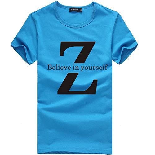 Preisvergleich Produktbild TWISFER 3D-Gedrucktes T-Shirt für Herren und Damen mit Mehrfarbigem Multicode Kurzarm Sport Top Bluse - Z Believe in yourseif Print Einfache Oberteile