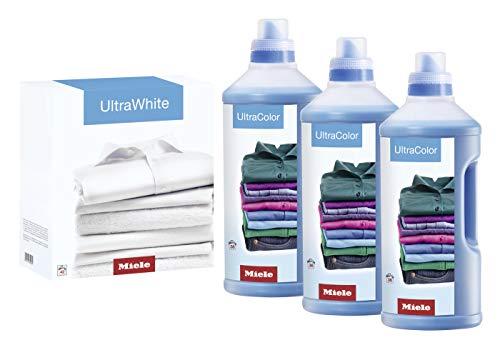 Miele Original Zubehör Set UltraColor und UltraWhite Waschmittel/Halbjahresvorrat - 150 Waschladungen / 3 Flaschen UltraColor - bunte Wäsche / 1 Packung UltraWhite - weiße Wäsche/für Waschmaschinen