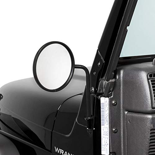 TACTIK Adventure Side Mirrors, Round Head - Side Hinge Mirrors with Doors Off - Fits Jeep Wrangler JL JK TJ YJ CJ & Gladiator JT Years 76-21 - Doorless Side Mirrors for Jeeps - Power Coated Finish