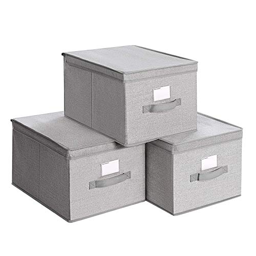 SONGMICS Juego de 3 Cajas Plegables con Tapas, Cajas de Almacenaje de Tela con Portaetiquetas, 40 x 30 x 25 cm, Gris Claro RYFB03W