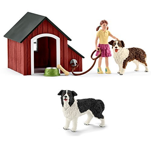 Schleich Farm World - Hundehütte + Border-Collie