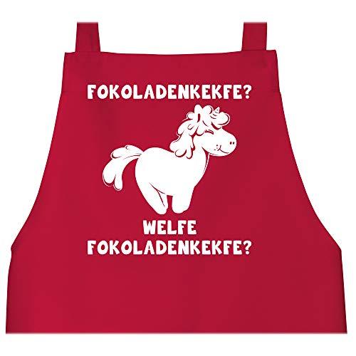 Shirtracer Schürze mit Motiv - Fokoladenkekfe Einhorn - 80 cm x 73 cm (H x B) - Rot - fokoladenkekfe einhorn - X967 - Schürze und Kochschürze für Erwachsene