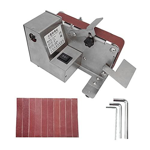 Staright Lijadora pequeña de 180W Lijadora de banda Máquina pulidora eléctrica doméstica Herramienta de lijado de escritorio Cortadores de madera y metal Máquina de pulir con 10 bandas de lijado