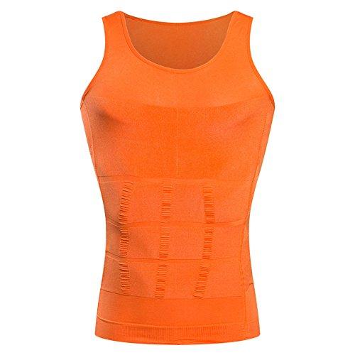 BaronHong Gynäkomastie Kompression Shirt Weste zu verstecken Mann Boobs Moobs Abnehmen Männer Shapewear Flatten Ganze Abdomen (orange, XXL)