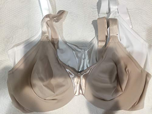 Olga Women's Support Satin Bra Two Pack (Butterscotch and White, 38C)