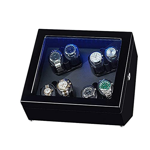 LLSS Caja enrolladora automática para Relojes Caja a Prueba de Polvo, Caja para Relojes mecánicos de Cuerda automática con Motor silencioso, Vitrina de Almacenamiento con Bala