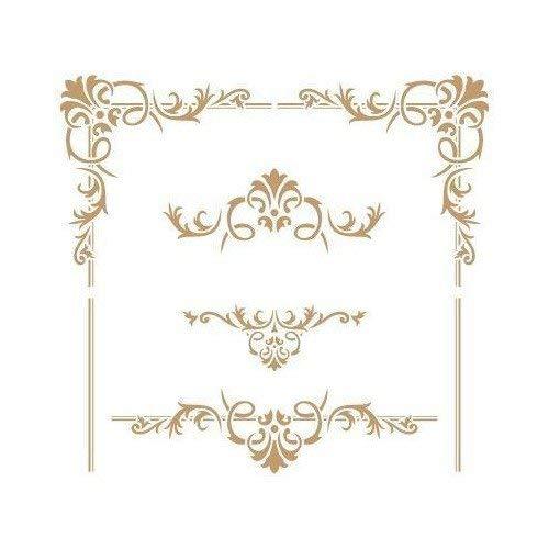 TODO STENCIL Deco Cenefa 057 Topetes y Esquinas, Medidas: Stencil 20 x 20 cm - Diseño 18,6 x 17,3 cm