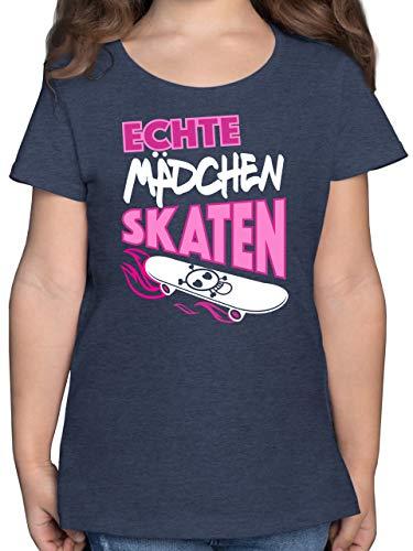 Up to Date Kind - Echte Mädchen skaten - 116 (5/6 Jahre) - Dunkelblau Meliert - Shirt mädchen 152 - F131K - Mädchen Kinder T-Shirt