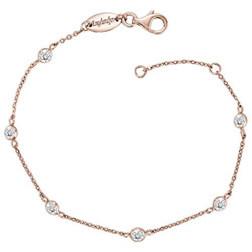 Engelsrufer Moonlight Armband für Damen Rosévergoldet 925er-Sterlingsilber Weiße Zirkonia Länge 16 cm + 2 cm