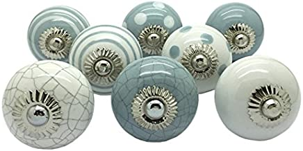 G Decor England Set of 8 Grey, White Ceramic Door Knobs Contemporary Cabinet Pulls for Cabinets, Drawers and Dressers–Deco...
