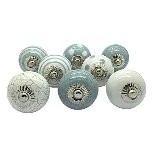 Grey and White Ceramic Knobs Handmade Cupboard Door Knob Kitchen Knobs