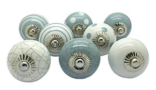 G Decor Türgriffe aus Keramik, im Vintage-, Shabby- und Chic-Stil, für Schränke oder Schubladen, grau und weiß, Set mit 8 Stück