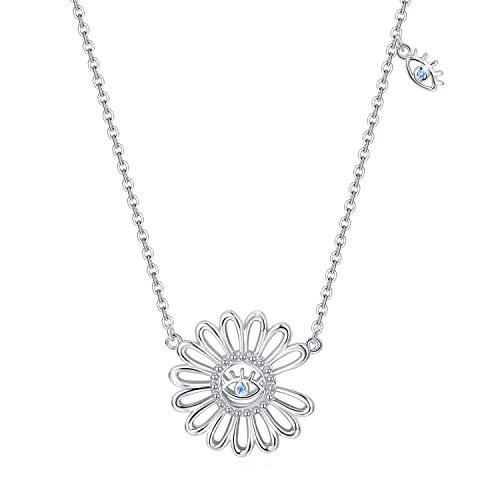 Collar de margaritas para mujer Colgante de flor de plata 925 para niñas Colgante de margaritas Joyería de cadena para mujer