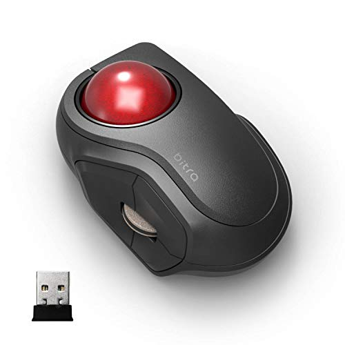 ELECOM 2.4GHz Wireless Finger-Operated Compact-Size Trackball Mouse 5-Button Function Smooth Tracking, Less-Noise Precision Optical Gaming Sensor with Semi-Hard Case (M-MT2DRSBK)