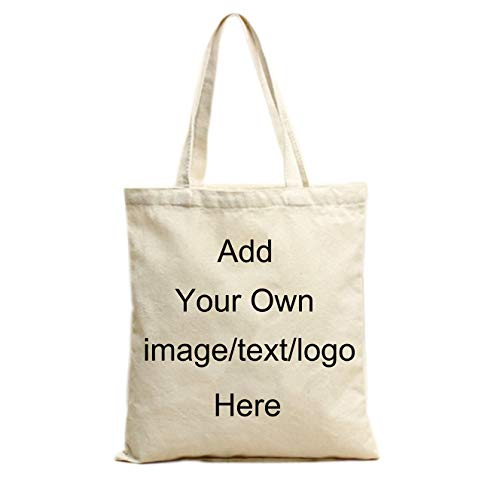 Add Your Image Text Logo Custom Design Your Own Canvas Tote Bag Reusable Canvas Tote Bags Printing Grocery Shopping Bags Washable 100% Natural Cotton Bags Halloween Thanksgiving Christmas Gift