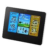 LCDデジタル天気時計 ワイヤレスカラー気象ステーション 天気ステーション 時計 温度計 室内屋外湿度計(ブラック)