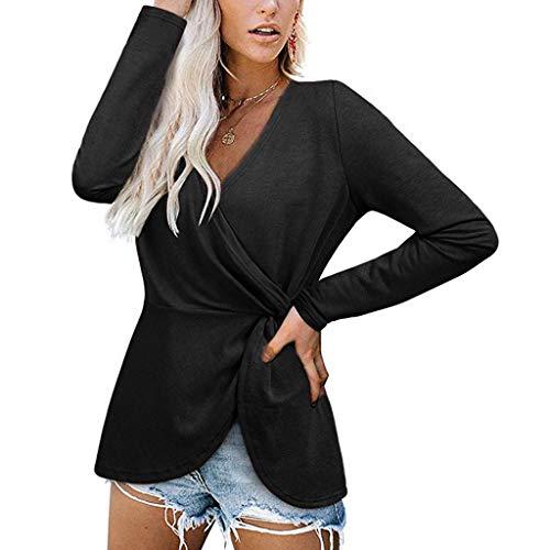 Elegante Top Hemd Bluse T Shirt Damen Langarm V Ausschnitt Peplum Pullover Oberteile Lang Lockere Sexy Sommer Frühling Oversize Vintage Asymetrisches Frauen Sweatshirts (Schwarz,S)
