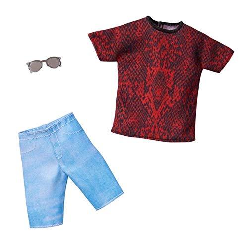 Barbie Fashionistas Pack GHX50: Ropa de muñeca Ken con camiseta estampada roja y negra, pantalones cortos azules y 1 par de gafas de sol, regalo para niños de 3 a 8 años