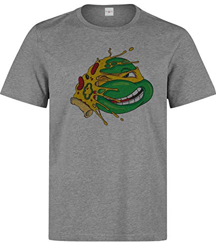 Herren Turtle Ninja Pizza Funny T-Shirt Grau XXL
