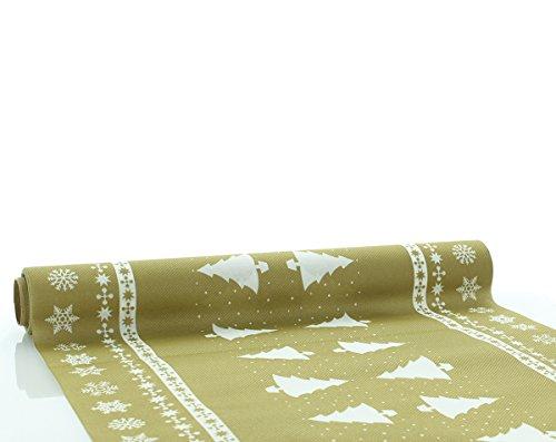 Home Tafelloper White Tree in goud | Linclass® Airlaid | Kerstmis Kerstmis wegwerptafelkleed | 40 cm x 4,80 m