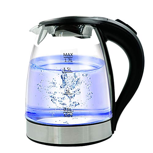 Glass Electric Kettle, Tea Kettle Heater, MEIQ 1.7 Liter Large Capacity Water Boiler with Blue LED Light, Built-In Mesh Filter, Auto-Shut Off and Boil-Dry Protection, BPA-Free
