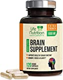 Brain Supplement Extra Strength Nootropics 1000mg - Made in USA - Natural Support for Memory, Focus, Concentration, and Clarity with DMAE, Bacopa Monnieri for Men and Women - 120 Capsules