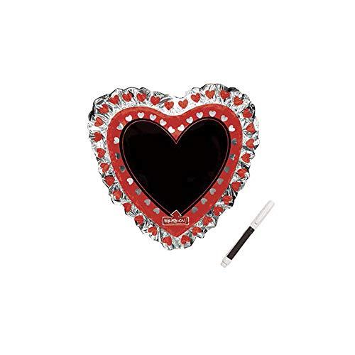 Haioo Globo de Cumpleaños en Metalizado Ideal para Fiesta de Cumpleaños y Aniversarios Hinchable y Deshinchable Incluye Rotulador para Escribir (Rojo y Blanco, Corazón)