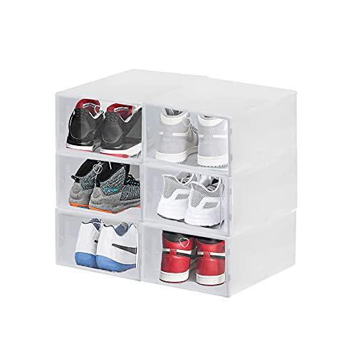 CODIRATO 6 PCS Cajas de Zapatos Transparentes Cajas Plástico Zapatos de Gran Capacidad Cajas de Zapatos Apilables Impermeable para el Almacenamiento de Zapatos (2 Tamaños)