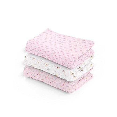 Cueiro Estampado, Papi Textil, Rosa, 1.0mx80cm, Pacote de 3