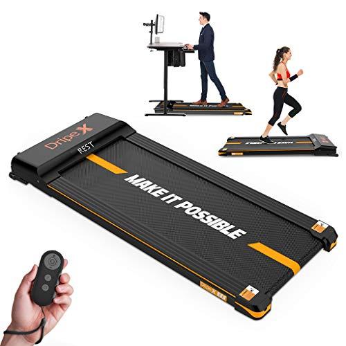 Dripex Laufband elektrisch leise, Treadmill 1-6 km/h einstellbar, 500W Motor mit Fernbedienung und LCE Display, einfach zu transportieren und zu lagern, geeignet für Büro und zuhause, Orange