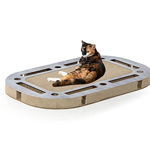 CanadianCat Company ® | XXL Katzenspielplatz ca. 85 x 54 x 5,8 cm mit integrierter Kratzpappe Katzenspielzeug Kratzbrett in betonoptik Kratzkarton