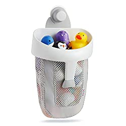 Super strong push lock suction cup securely mounts to tile and fiberglass tub walls Mesh fabric increases air flow so toys dry quickly, reducing mildew risk Extra-large mouth makes grabbing multiple toys quick and easy (Toys not included) Fun and eas...