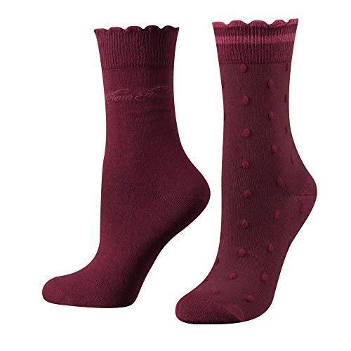TOM TAILOR Damen Socken 2er pack Design mit Punkten + uni basic schwarz, Size:35-38, Farben:dark berry