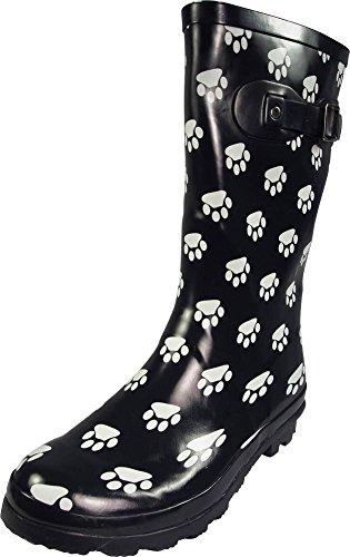 NORTY - Womens Hurricane Wellie Gloss Mid-Calf Paw Printed Rain Boot, Navy 39697-8B(M) US