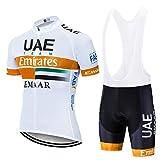 AJL Camiseta de Ciclismo para Hombre UAE Team Orange Verano de Manga Corta, Racing Club Pro Road Mountain Bicycle Outdoor Bike Jersey, Combo de Ciclo de compresión de Secado rápido