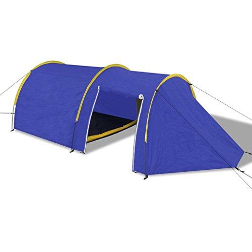 vidaXL Tienda de Campaña 4 Personas Azul Marino/Amarillo