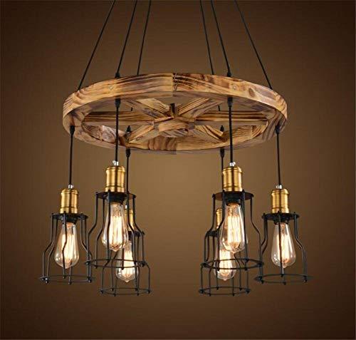 SGWH ® binnenverlichting kroonluchter lampen smeedijzeren hanger kroonluchter verlichting plafondlamp lamp Amerikaanse landhuisstijl massief houten hanglamp 220 V H 50 cm X B 80 cm