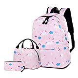 Sunborls Magic Unicom Nylon Backpack Elementary School Bag Water Resistant Bookbag with Lunch Pencil Bag