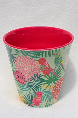 Rice melaminebeker Tropic, kleurenspel mint, groen, roze, koraal: binnen roze, afmetingen 9 x 9 cm