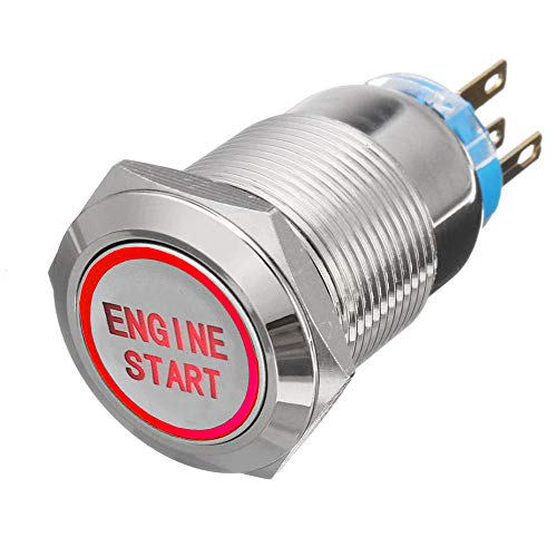 ESUPPORT 12V Car Vehicle Red LED Light Headlight Push Button Metal Toggle Switch 19mm Engine Start