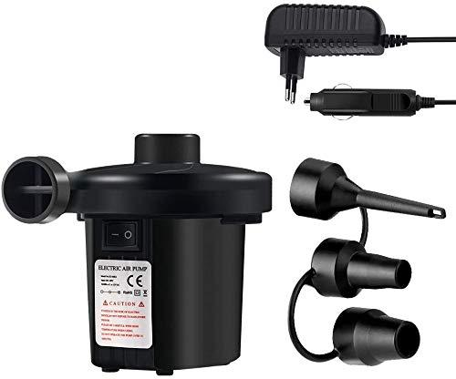 ERWEY Elektrische Luftpumpe, USB Luftpumpe Inflator Deflator 2 in 1 Elektropumpe Power Pump mit 3 Luftdüse Für Schlauchboote Luftbettmatratze Schwimmbecken,Schwarz