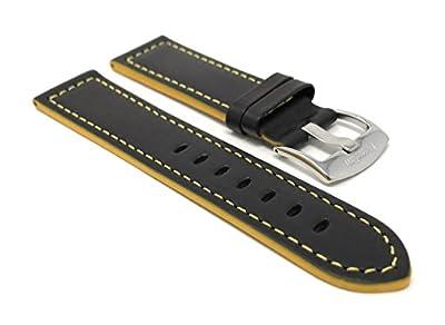 18mm - 24mm, Correa reloj de cuero auténtico, hebilla de acero inoxidable, disponible en negro avec rojo, naranja, verde, azul ou couture jaula