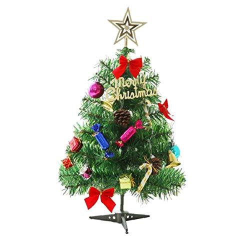 Mini Árbol De Navidad De Navidad Artificial De Pino Conjunto con Colgantes Secuencia del Led Led para La Navidad Decoración De Mesa (Verde)
