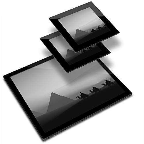Destination 43123 - Mantel individual de vinilo (20 x 25 cm, 2 posavasos de 10 x 10 cm), diseño de pirámides egipcias